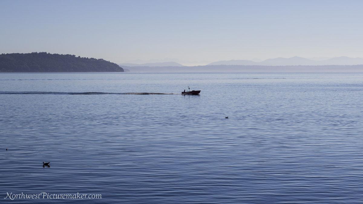 Fisherman, hazy mountains, ducks