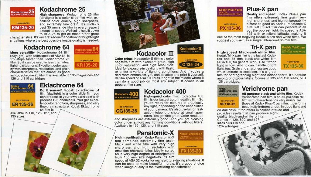 Kodak Film Facts 1970s Vintage Catalog (side 2)