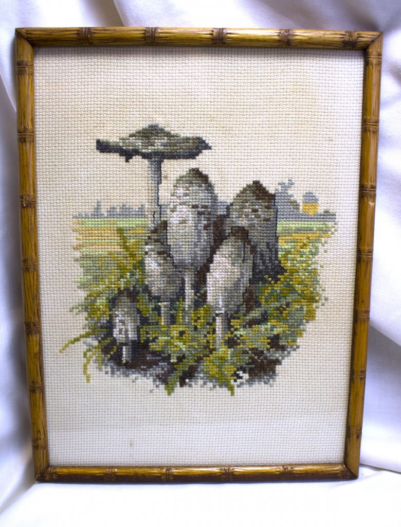 Ink Cap Muhroom Needlepoint Art